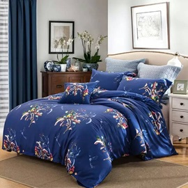 Wannaus Dark Blue Flower Print Cotton 4-Piece Duvet Cover Sets