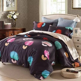 Wannous Colorful Fluffy Ball Pattern Cotton 4-Piece Duvet Cover Sets