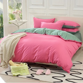 Wannaus Solid Pink and Green Color Blocking Cotton 4-Piece Duvet Cover Sets