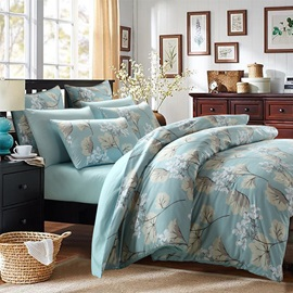 Wannaus Elegant Gingko Print Cotton Blue 4-Piece Duvet Cover Sets