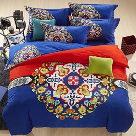Wannaus European Flowers Design Royal Blue 4-Piece Cotton Duvet Cover Sets