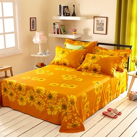 Wannaus Sunflower and Chain Print 4-Piece Cotton Duvet Cover Sets