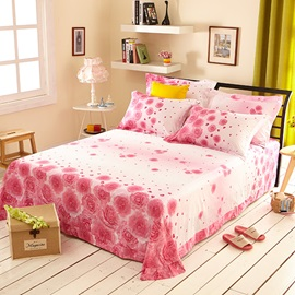 Wannaus Romantic Pink Roses Print 4-Piece Cotton Wedding Duvet Cover Sets
