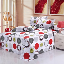 Wannaus Stylish Concise Circles Print 4-Piece Cotton Duvet Cover Sets