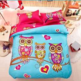 Wannaus Family of Little Owls Print 4-Piece Natural Cotton Duvet Cover Sets