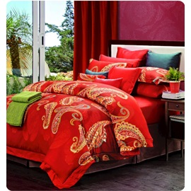 Wannaus Boutique Staple Cotton Bright Red 4 Piece Duvet Cover Sets