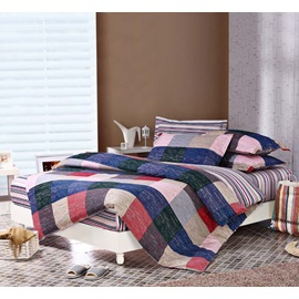 Wannaus England Style with Plaid and Stripe 4 Piece Discount Bedding sets With Fitted Sheet