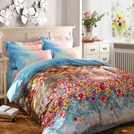 Wannaus Wonderland Garden Print 4-Piece Cotton Duvet Cover Sets
