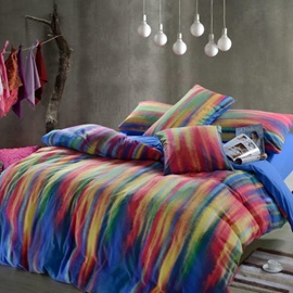 Wannaus Stylistic Colorful Stripes Print Kintting Bedding Sets with Fitted Sheet