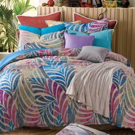 Wannaus Colorful Leaves Patterns Comfortable Kintting Bedding Sets with Fitted Sheet