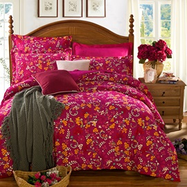 Wannaus Graceful Flowers Fiery Red Cotton 4-Piece Duvet Cover Sets