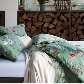 Wannaus Wonderful Flowers Green Cotton 4-Piece Duvet Cover Sets