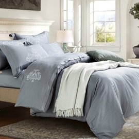 Wannaus Cozy Luxury Grayish Cotton 4-Piece Duvet Cover Sets