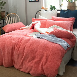 Wannaus Solid Coral and White Reversible Polyester Faux Sherpa 4-Piece Bedding Sets/Duvet Cover