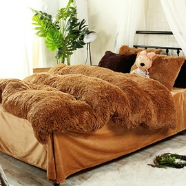 Wannaus Full Size Solid Brown Super Soft Fluffy Plush 4-Piece Bedding Sets/Duvet Cover