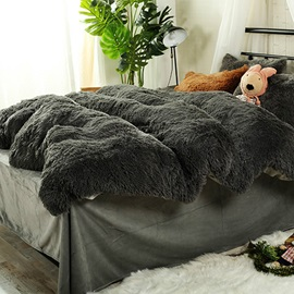 Wannaus Full Size Solid Grey Super Soft Fluffy Plush 4-Piece Bedding Sets/Duvet Cover