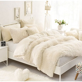 Wannaus Solid Creamy White Fluffy and Soft 4-Piece Bedding Sets/Duvet Cover