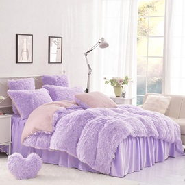 Wannaus Solid Purple and Pink Color Blocking Super Fluffy 4-Piece Bedding Sets/Duvet Cover