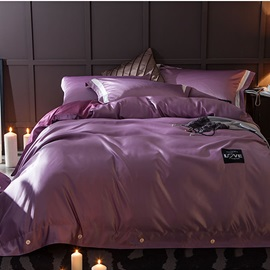 Wannaus Solid Dark Purple Luxury Style Silky 4-Piece Bedding Sets/Duvet Cover
