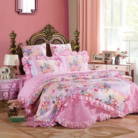 Wannaus Pink Peonies Printed Royal Style 6-Piece Cotton Sateen Bedding Sets/Duvet Cover