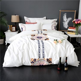 Wannaus Embroidery Mandala Pattern Ethnic Style White 4-Piece Cotton Sateen Bedding Sets/Duvet Cover