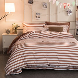 Wannaus Coffee Stripes and Cat Letter Modern Style Soft 4-Piece Bedding Sets/Duvet Cover