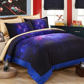 Wannaus Dreamlike Purple Galaxy Printed 4-Piece Polyester Duvet Cover Sets