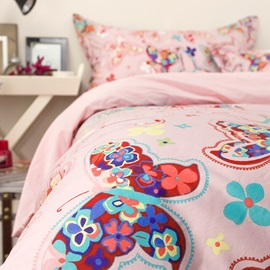 Wannaus Colorful Butterflies Pattern Princess Style Pink Cotton 4-Piece Bedding Sets/Duvet Cover