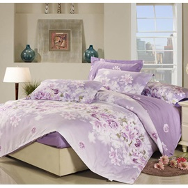 Wannaus Purple Rose And Lily Pattern Cotton 4 Piece Bedding Sets