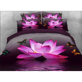 3D Pink Lotus and Butterfly Printed 5-Piece Comforter Sets