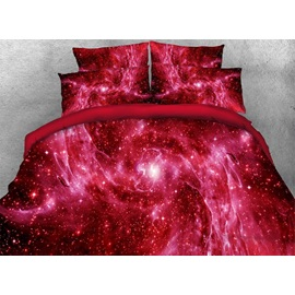 Outer Space and Galaxy Printed 4-Piece Red 3D Bedding Sets/Duvet Covers