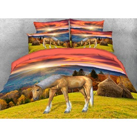 Horse in Autumn Grassland Printed 4-Piece 3D Bedding Sets/Duvet Covers