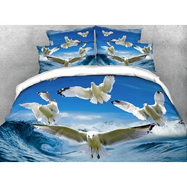 Seagulls Flying over Rushing Water Cotton 3D 4-Piece Bedding Sets/Duvet Covers
