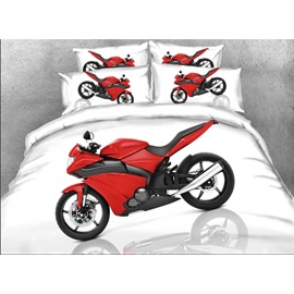 Red Sports Motorcycle Printed 4-Piece White Bedding Sets/Duvet Covers