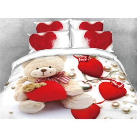 Bear and Red Heart Love Digital Printing 3D Cotton 4-Piece Bedding Sets/Duvet Covers