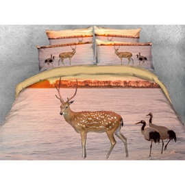 Sika Deer and Seabirds Printed 3D 4-Piece Bedding Sets/Duvet Cover
