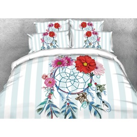 Dreamcatcher with Daisy and Blue Stripes Printed 3D 4-Piece Bedding Sets/Duvet Covers