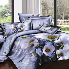 Elegant Dull Purple Flower Printed 4 Pieces Cotton Bedding Sets