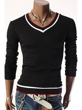 V-Neck Patchwork Long Sleeve T-Shirt