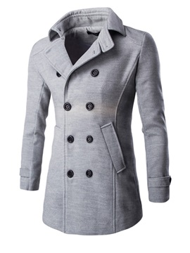 Mid-Length Slim Double-Breasted Men's Coat