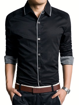 Solid Lapel Long Sleeve Men Shirt