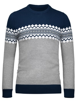 Crew Neck Color Block Pattern Men's Sweater