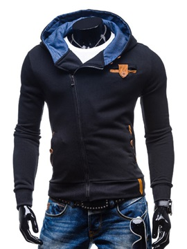 Men's Slim Fit Elbow Block Turtle Neck Zipped Hood