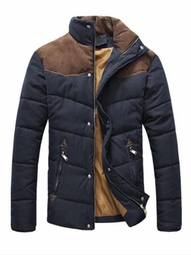 Men's Stand Collar Zip Shoulder Color Block Down Coats