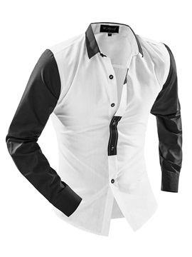 Lapel Sleeve Placket Part Color Block Single Breasted Men's Shirt