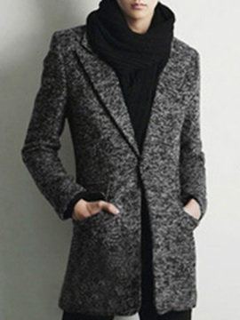 Notched Collar One Button Middle Pattern Men's Woolen Coat