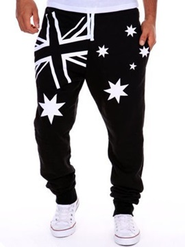 Flag Star Printed Men's Lace Up Casual Pants