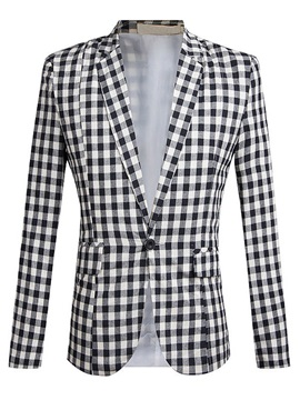 Plaid One Button Notched Lapel Slim Men's Blazer
