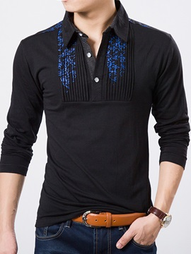 Lines Printed Wrinkle Design Men's Buttons Tee