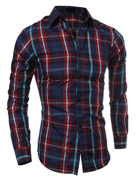 Multi-Color Plaid Lapel Single-Breasted Men's Shirt